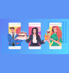 People celebrating online party mix race friends vector