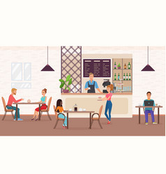 People in cafe restaurant flat vector