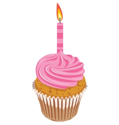 Pink cupcake with burning candle vector