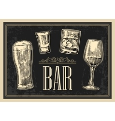 Poster or signboard BAR Set glass beer whiskey vector image