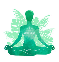 practicing yoga meditation watercolor silhouette vector image