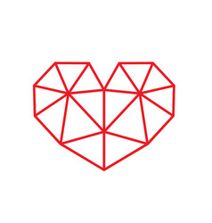 Red triangular style heart symbol vector