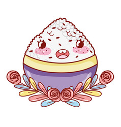 rice bowl kawaii cartoon vector image