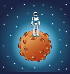 Robot moon space galaxy vector