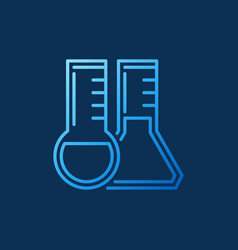Round-bottom and conical flask outline blue vector