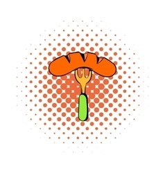 Sausage on a fork icon comics style vector