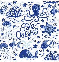 save ocean vector image