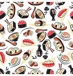 Seamless pattern traditional japanese cuisine vector