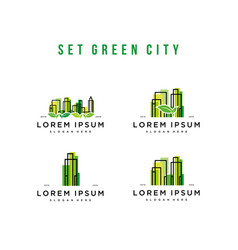 Set green city logo design vector