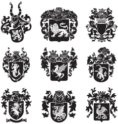 Set of heraldic silhouettes No4 vector