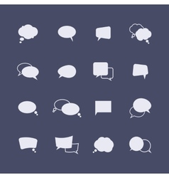 Set of simple speech bubble icons on the dark vector image