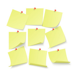 set yellow office stickers with space for text vector image
