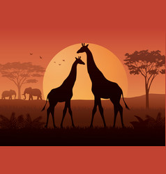 silhouette of giraffe and elephant at savanah vector image