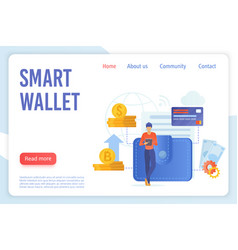 smart wallet flat landing page template vector image