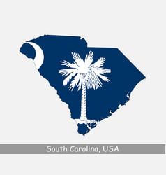 south carolina usa map flag vector image