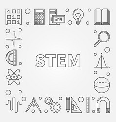 Stem education square frame - outline vector