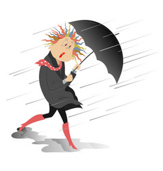 Strong wind rain and woman with an umbrella isola vector