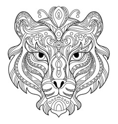 Tangle tiger coloring book page for adult vector