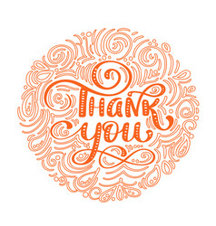 Thank you hand drawn text in round frame trendy vector