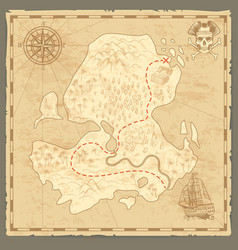 Treasure island map retro wallpaper vintage vector