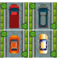 Trucks and cars parking on the road vector image