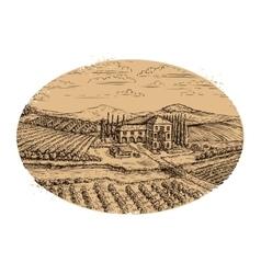Vineyard landscape hand-drawn vintage farm vector