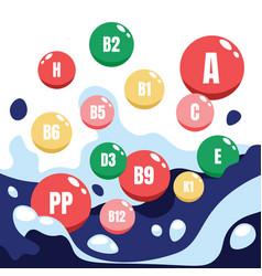 Vitamin complex cartoon microelements round vector