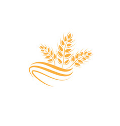 Wheat icon agriculture farm logo natural product vector