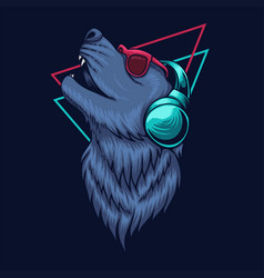 wolf headphone vector image