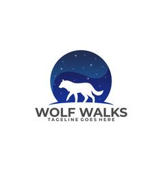 wolf walks on night design template vector image
