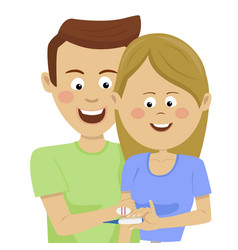 Young couple holding pregnancy positive test vector