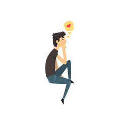 Young man character dreaming about girlfriend vector
