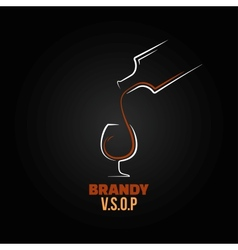 brandy glass bottle splash design background vector image