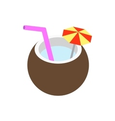 Coconut cocktail icon isometric 3d style vector image vector image