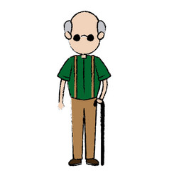 Grandfather parent male member of family walking vector