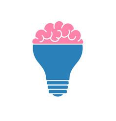 Light bulb brain icon vector