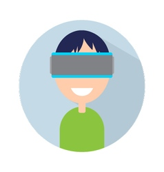 Man with virtual reality headset on your head vector image