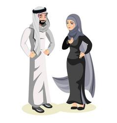 muslim arab man and a woman vector image vector image