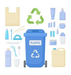 plastic waste sorting flat icon set vector image