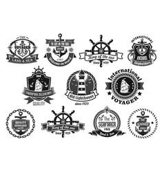 Sea emblem set with anchor helm sailing ship vector