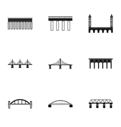 Types of bridges icons set simple style vector image
