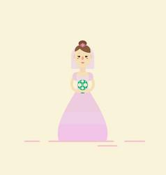 bride wearing wedding pink dress vector image
