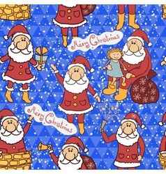 Christmas seamless pattern with Santa Claus vector image vector image