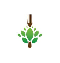 Fork leaf restaurant eco logo vector
