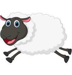 happy sheep jumping vector image vector image
