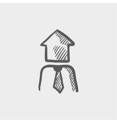 Housing agent sketch icon vector