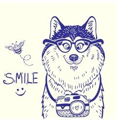 Husky smile doodle vector image