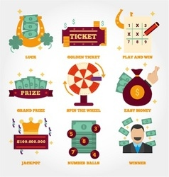 Lottery flat design icon collection vector image vector image