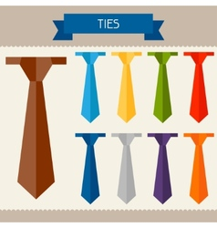 Ties colored templates for your design in flat vector image vector image