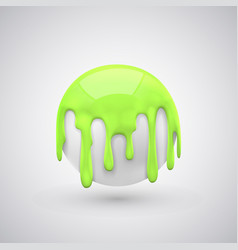 ball with paint drops green vector image vector image